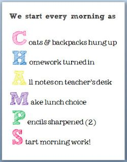CHAMPS poster for morning procedures- I really like this! FREE download.