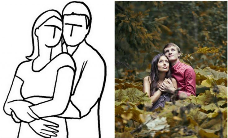 когда молодой человек обнимает девушку сзади. Пара может смотреть прямо в камеру или друг на друга. Они даже могут поцеловаться для создания более эмоционального кадра.