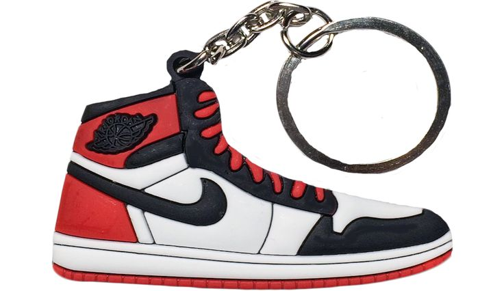 "Nike Jordan 1 Red White Black ""Black Toe"" 2D Flat Keychain"