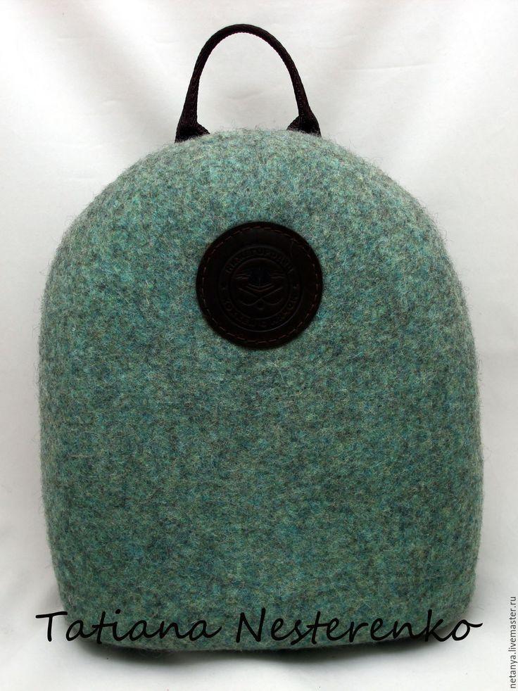 """Купить Рюкзак """" High school"""" - зеленый, однотонный, валяная сумка, валяный рюкзак"""