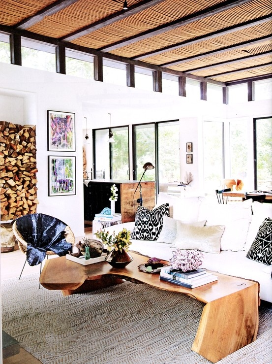 Madeline Weinrib Black Luce Ikat Pillows in the home of designer Athena Calderone, via Living Etc