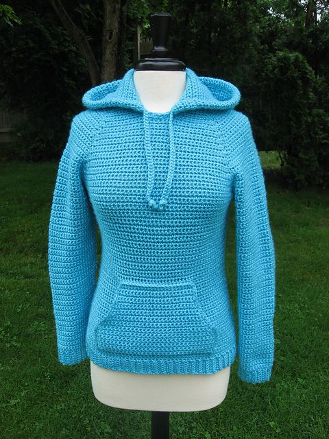 """I love this """"Ever in style"""" Raglan Hooded Pocket Pullover pattern by Deborah Devlin ~ pattern now available on Ravelry"""