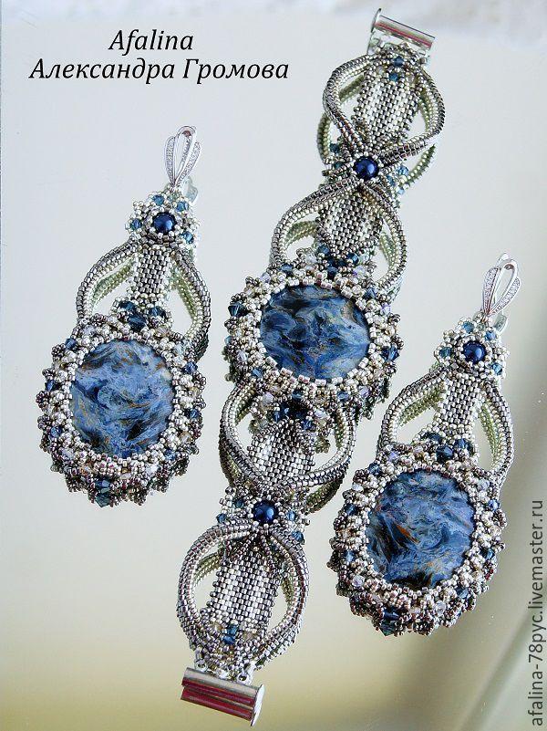 """Купить Комплект """"Дубай 4"""" - серебряный, синий, тёмно-синий, браслет, браслет с камнем, питерсит"""
