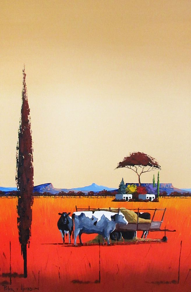 Pieter van Heerden - Colourful Farm Scene (910 x 610) (SOLD)