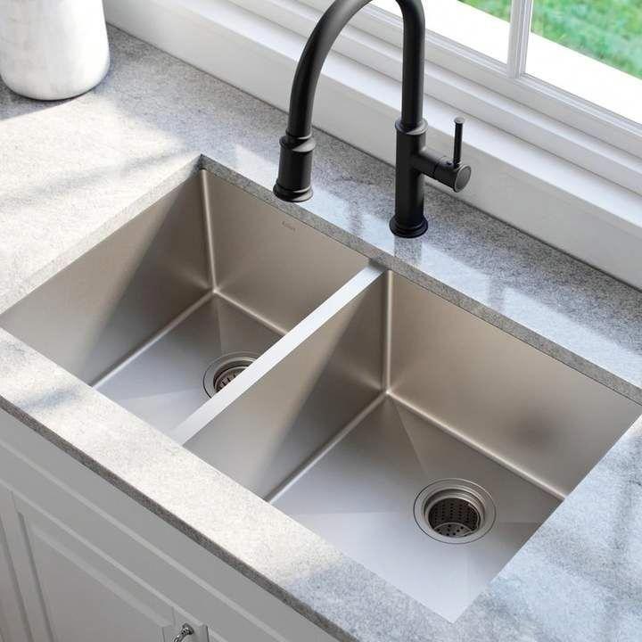 Kraus 33 L X 19 W Double Basin Undermount Kitchen Sink With Drain Assembly Kitchens Best Kitchen Sinks Undermount Kitchen Sinks Stainless Steel Kitchen Sink