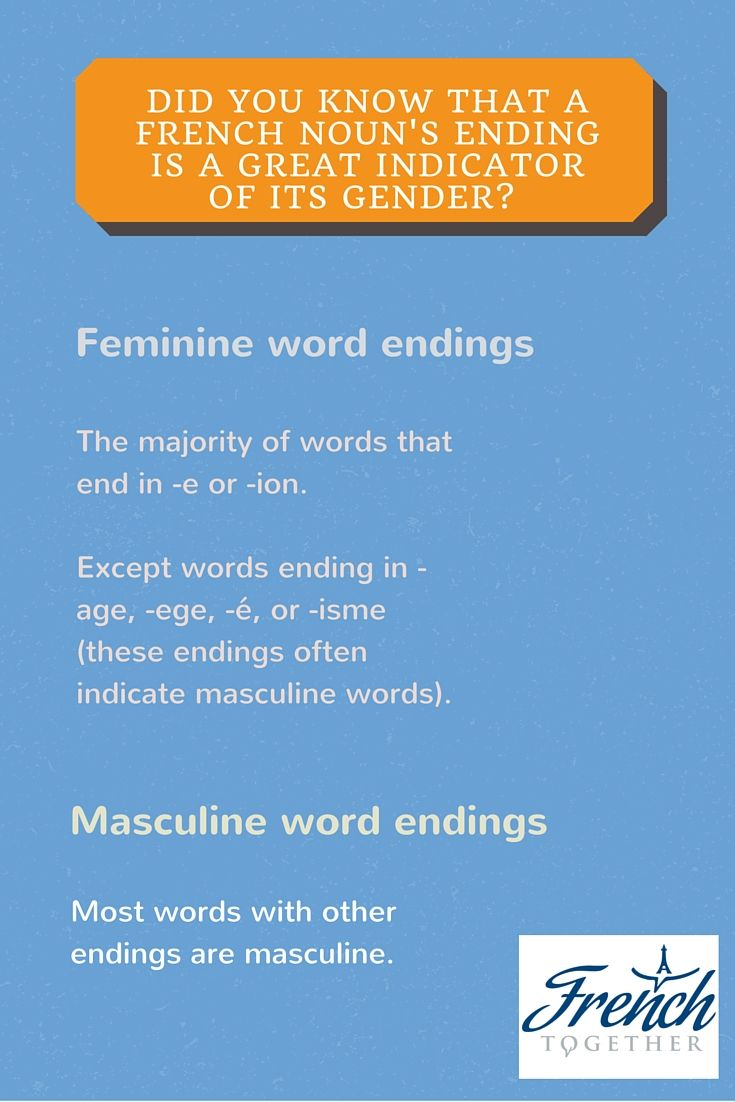 Best 25 french nouns ideas on pinterest learn french in paris how to know the gender of french nouns with 80 accuracy fandeluxe Choice Image