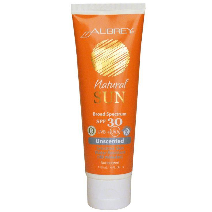 Aubrey Organics, Natural Sun, Broad Sprectrum SPF 30 Sunscreen, Unscented, 4 fl oz