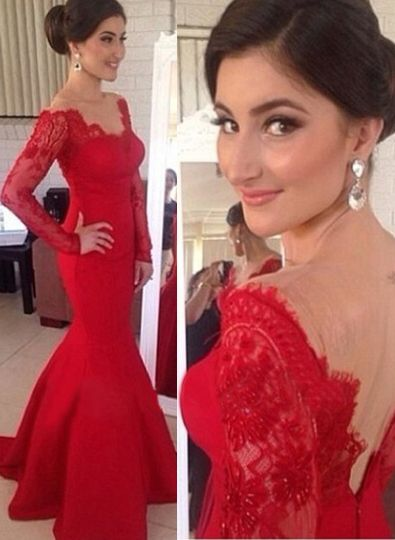 2015 Sexy Red Prom Dress Long Sleeve Lace Appliques Mermaid Evening Gowns On Sale