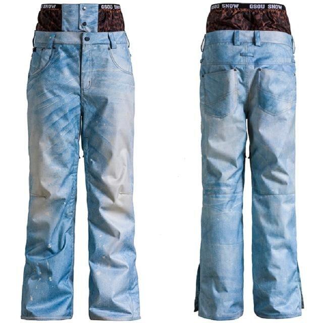 Gsou Snow Skiing Snowboard Pants Denim Ski Pants Male Pants Waterproof Pantalon Ski Homme