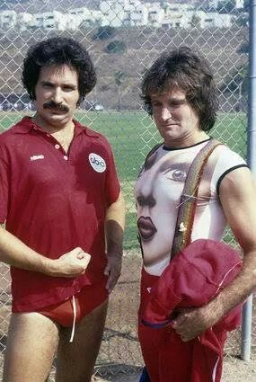 Gabe Kaplan (in speedo) and Robin Williams on Battle of the Network Stars, 1970's