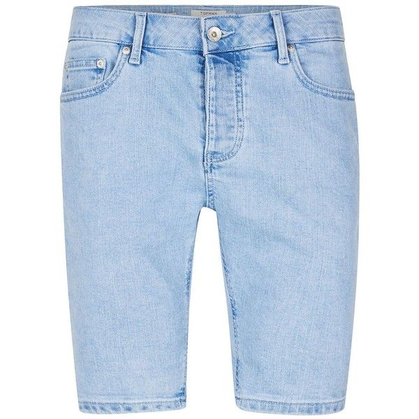 TOPMAN Light Blue Bleached Stretch Skinny Denim Shorts (96 BRL) ❤ liked on Polyvore featuring men's fashion, men's clothing, men's shorts, blue, mens cotton shorts, mens blue shorts, organic cotton men's clothing, mens light blue shorts and mens stretch shorts