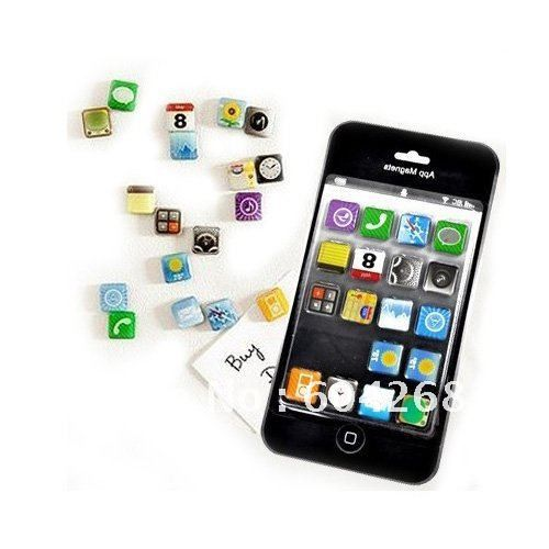 18 pcs/set iPhone 4 app fridge magnet home decoration, novelty items and unique gift 10Set/Lot