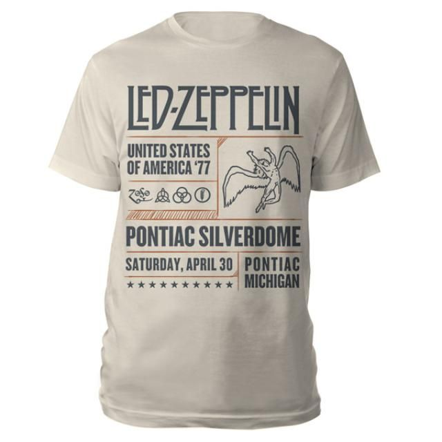 Check out Led Zeppelin Pontiac Silverdome Event Natural T-Shirt on @Merchbar.