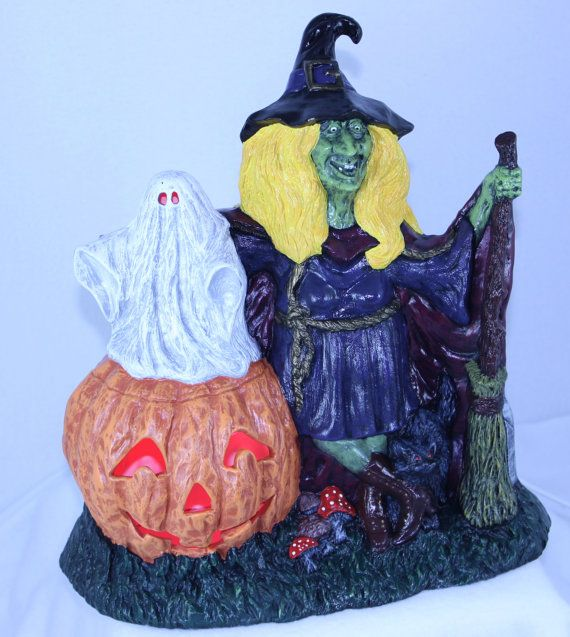 ceramic witch wpumpkin light up halloween decoration - Light Up Halloween Decorations