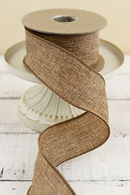 11.00 SALE PRICE! Adorn chair backs, wrap around wires and poles, and decorate tabletops with this wired burlap ribbon. Made of natural burlap with a seamed ...