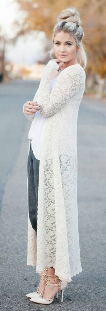 full lace long cardigan