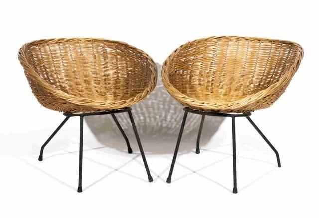 Paire de fauteuils coquilles en rotin pi tement en m tal peint mobilier mod - Mobilier francais contemporain ...