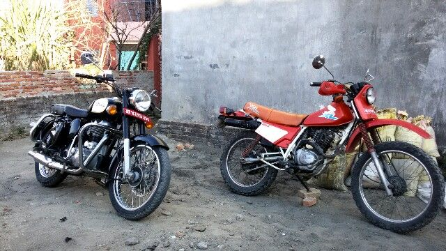 Classic 350 Royal Enfield and 1996 model Honda XL 185 at Tranquil Homestay