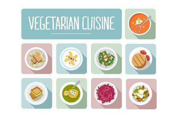 Vegetarian Cuisine Icons by Rassko on Creative Market