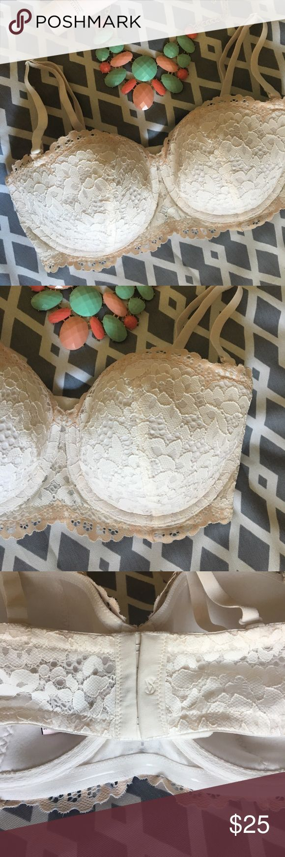 Victoria Secret Bra - Body By Victoria Victoria Secret strapless bra - convertible. Only worn once to try on, never used thru out day. Like new, no tags. Pretty eggshell color lace bra with beige trim. Body By Victoria Lined Balconet 36DD. Victoria's Secret Intimates & Sleepwear Bras