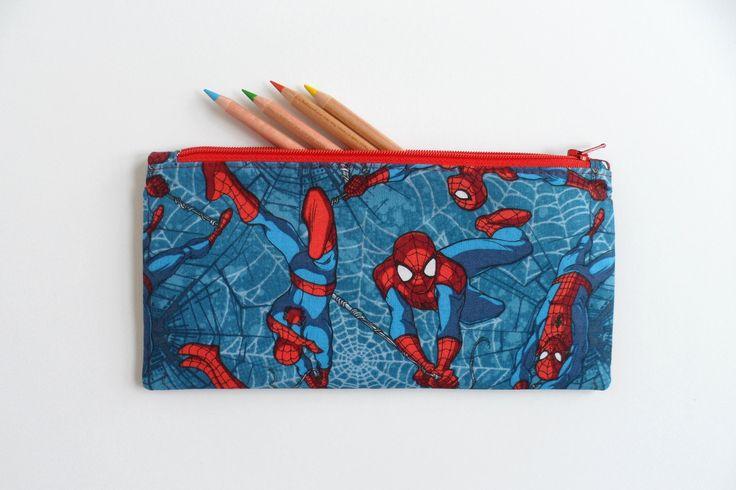 Kids pencil case, Spiderman fabric, kids zipper purse, small zipper pouch, toy storage pouch, kids purse, zipper bag, diaper bag zip pouch by LittleFoxSewsLots on Etsy