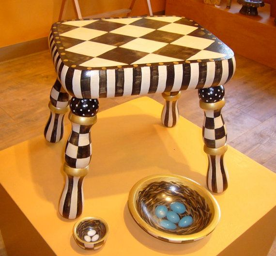 Hand Painted Foot stool in black and white with gold accents