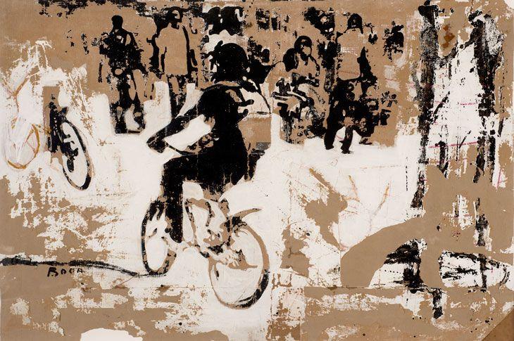 Armand Boua, Rond Point D'Abobo, 2014, tar and acrylic on cardboard