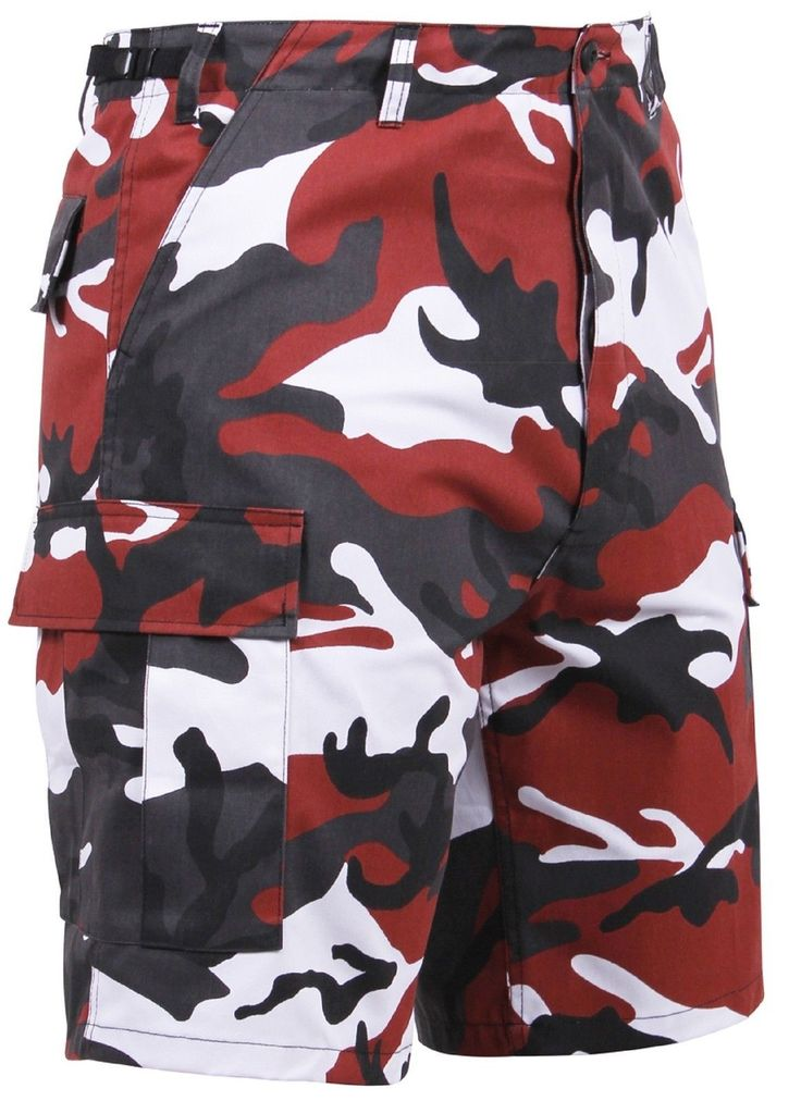 Men's Red Camouflage BDU Cargo Shorts - Black, Red & White Camo Shorts XS - 3XL