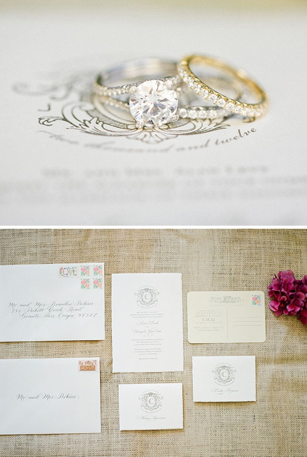 Classic printwork - love the ring photo! Wedding by Before I Do Events: www.beforeidoevents.blogspot.com @Michele Dalzell-Woodcock