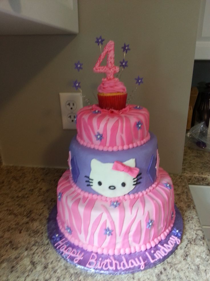 pink and purple hello kitty cake. zebra. cupcake topper ...