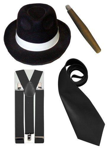 From 7.13 Adult Fancy Dress Gangster 4 Piece Set Black