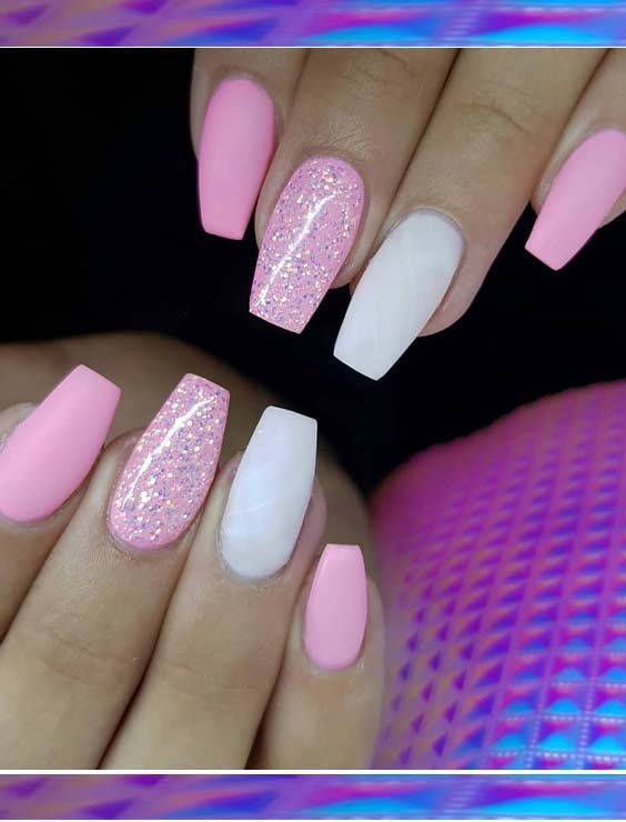 See here our collection of colorful acrylic pink matte glitter nail art designs …