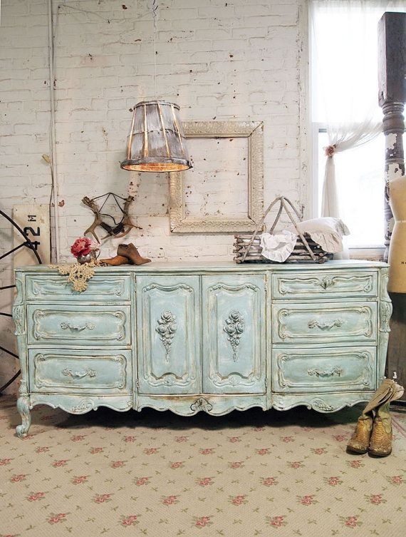 Painted Cottage Chic Shabby Aqua French Dresser by paintedcottages