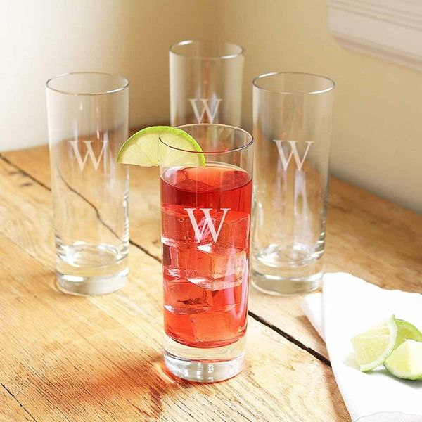 These contemporary cocktail glasses come in a set of four - each one expertly engraved with an Initial of your choice. They're long and slender in shape, perfect for tall, icy, delicious mojitos! They'll make a real statement when handed to guests at a dinner party or gathering. This classic cocktail glass set will make an excellent wedding, anniversary or housewarming gift.