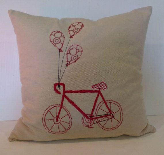 Bicycle cushion cover by handmadebysarahjane on Etsy
