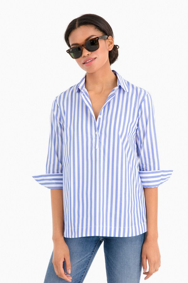 9f93ef99b23df Popover Shirt in Blue/White by The Shirt by Rochelle Behrens - Tnuck ...