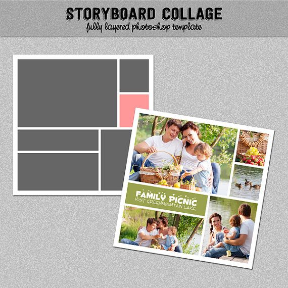 "Foto Storyboard, Foto Collage Template, Photoshop Template liggen 12 x 12""- Nr.10 - Instant - Instagram sjabloon downloaden"