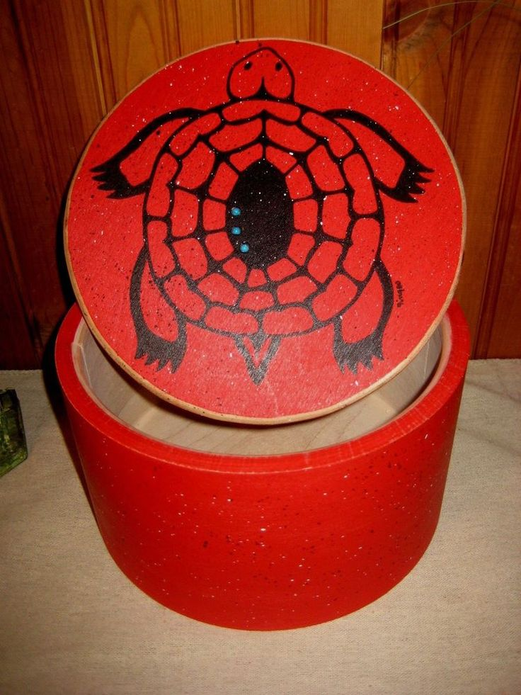 Northwest Tribal Red Turtle Birch Box Hand Crafted Indigenous Style #FolkArt