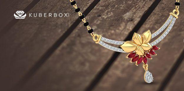 Ruby gold mangalsutra kuberbox.com