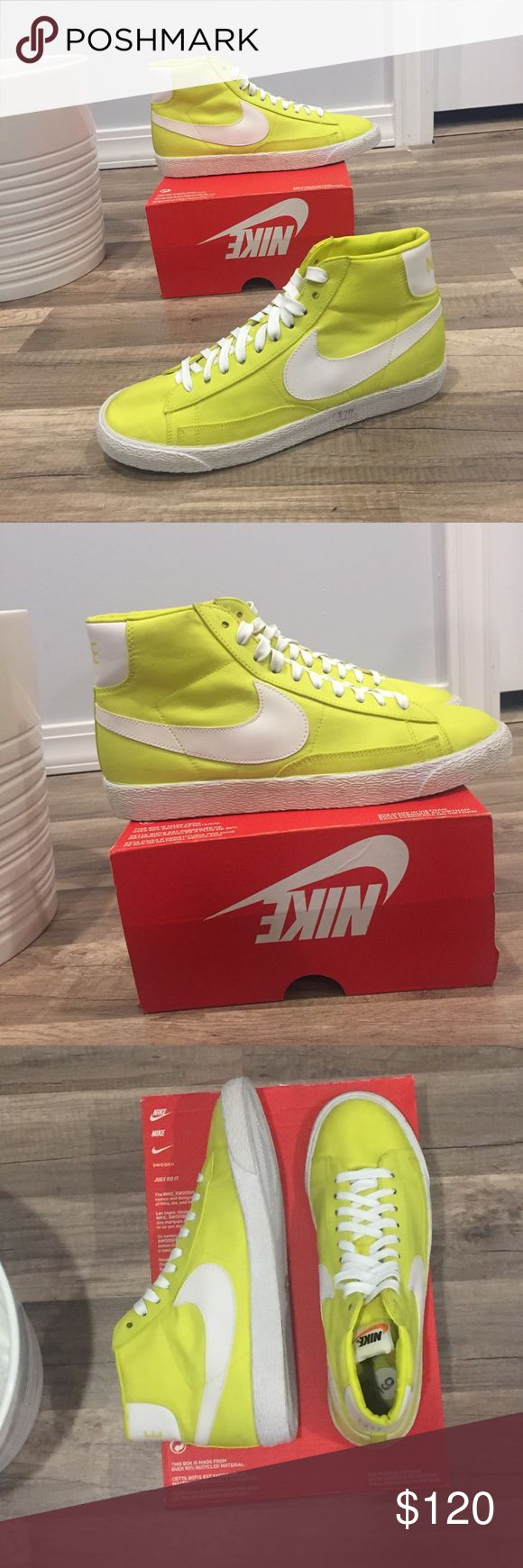 NIKE Vintage Blazer Shoes **BRAND NEW**  These feature a unique yellow pastel that is a site statement. The Blazer was introduced by Nike Basketball in 1972 and has since transformed into a modern style staple. Maturing from a simple canvas high top to a leather mid top and casual low top, this shoe just gets better with age. Nike Shoes Sneakers