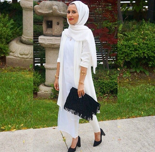 lovely white hijab outfit style