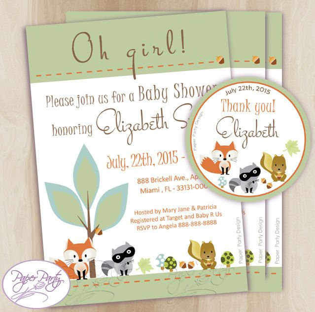 Woodland Baby Shower Invitation Fox Forest Baby Shower Invitations Green Baby Shower Invitation Invites - Free Thank You Card Customized by PaperPartyDesignUS on Etsy