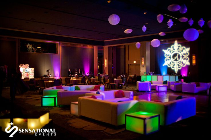 Lounge Seating And Led Cubes With Ceiling Decor Create A