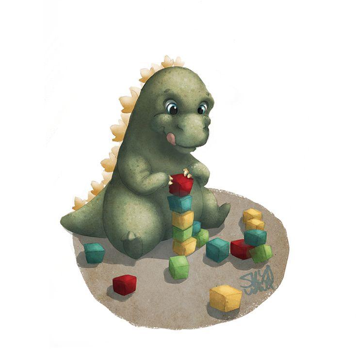 Baby Godzilla   #play #baby #godzilla # blocks #childrensbook   Kids illustration by S.K.Y. van der Wel