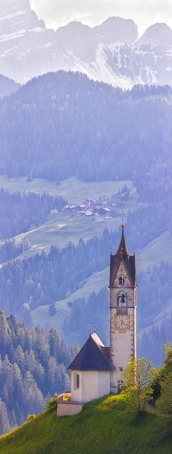 St. Barbara Church, Wengen, Val Badia, Alto Adige, Italy This is an 8 image vertical pano shot a 400mm.