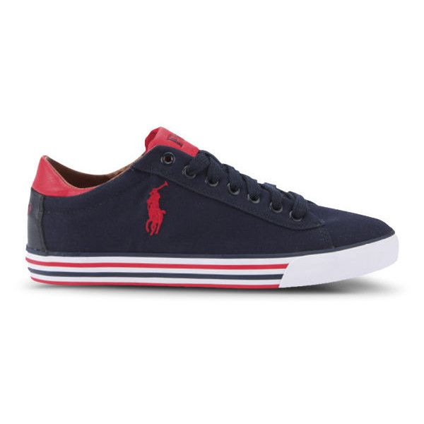 Polo Ralph Lauren Men's Harvey-Ne Trainers - Newport Navy/Red (385 BRL) ❤ liked on Polyvore featuring men's fashion, men's shoes, men's sneakers, mens low top basketball shoes, mens navy blue sneakers, mens high top shoes, mens high tops and mens lace up shoes