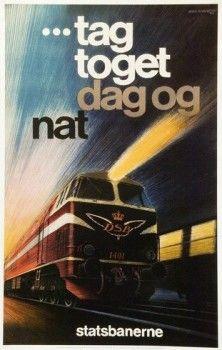 Statsbanerne, ag toget dag og nat, Artist: Aage Rasmussen, 1969. DSB, an abbreviation of Danske Statsbaner (Danish State Railways), is the largest Danish train operating company, and the largest in Scandinavia.