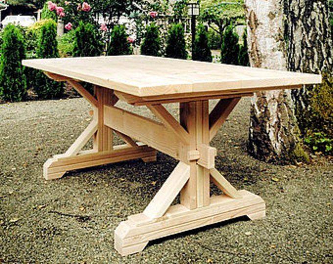Make Your Own Farmhouse Style Triple Trestle Table Base