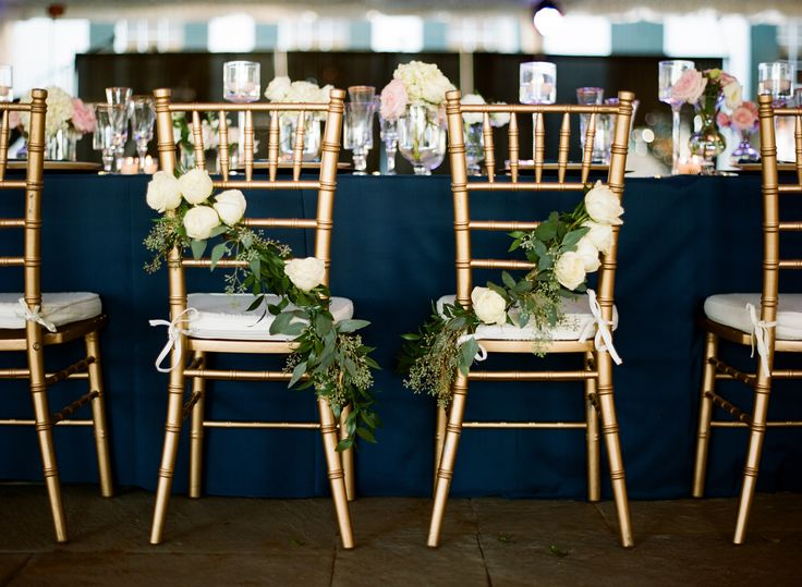 Cascading Rose Bride and Groom Reception Chair Decor