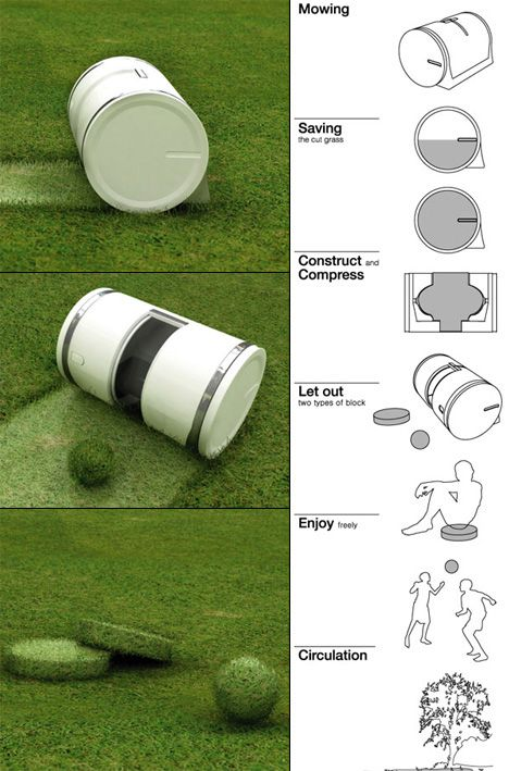 """""""Muwi"""", Automatically Cuts Grass and compresses the clippings into shapes to play with!!!-- WHY DO I NOT HAVE THIS."""